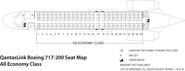 Boeing 717-200 Seating Chart or Seat Map QantasLink Economy Class Only