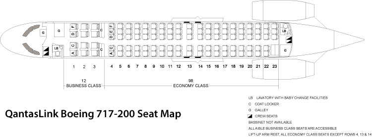 The QantasLink Boeing 717-200 Seat Map With Business Class