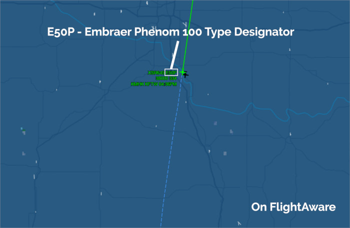 The Embraer E50P Aircraft Type Designator or Code on FlightAware