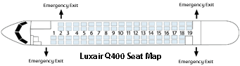 Luxair Bombardier Q400 Seat Map or Seating Chart Image