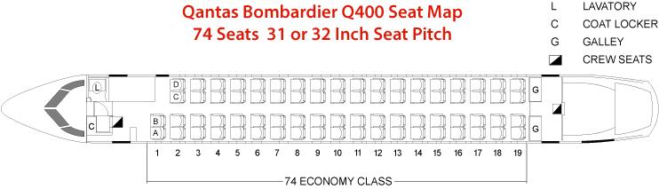 Qantas Bombardier Q400 Seat Map or Seating Chart