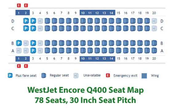 WestJet Encore Q400 Seat Map or Seating Chart