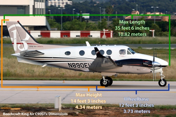 A Beechcraft King Air C90GTx Specifications and Dimensions Photo