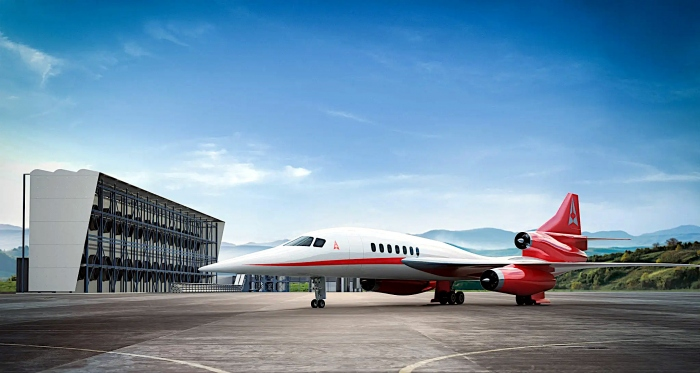 The Aerion AS2 exterior on the ramp