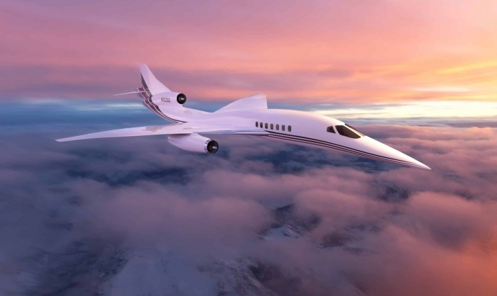 Aerion AS2 NetJets in Clouds Supersonic