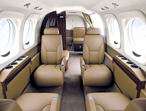 A photo of the Beechcraft King Air C90GTx Beechwood Interior Style
