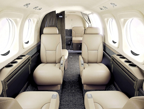 A photo of the Beechcraft King Air C90GTx greige interior color or style