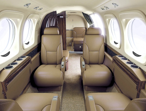 A photo of the Beechcraft King Air C90GTx mocha interior color