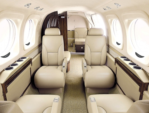 A photo of the Beechcraft King Air C90GTx parchment interior