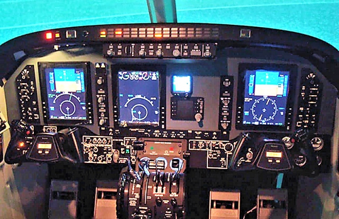 A photo of the Beechcraft King Air C90GTx simulator from FRASCA