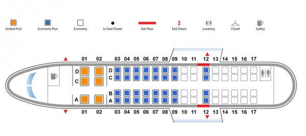 United Express CRJ700 Seat Map Photo