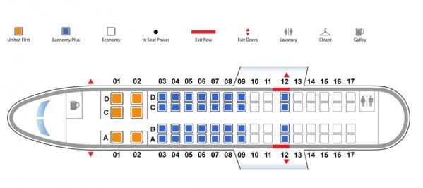 United Express CRJ700 Seat Map Photo