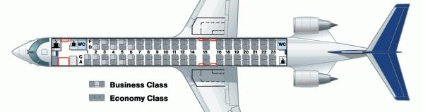 A Lufthansa CRJ900 Seat Map