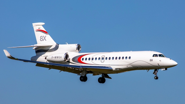 A photo of the Dassault Falcon 8X Jet in flight