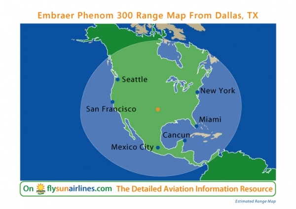 Embraer Phenom 300 Range Map