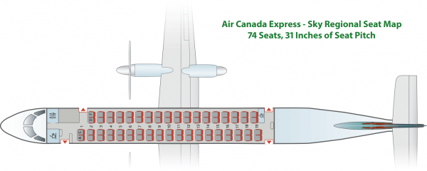 Air Canada Express Bombardier Q400 Seat Map Sky Regional