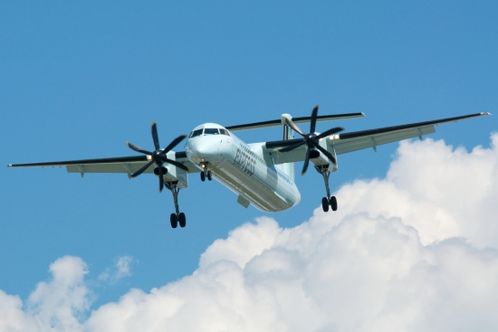 The Air Canada Express Bombardier Q400 Landing at The Toronto Pearson Airport