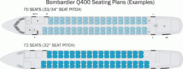 Bombardier Q400 Seating Plan Examples