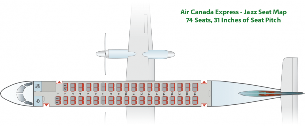 Bombardier Q400 Air Canada Express Jazz Seat Map - Chart