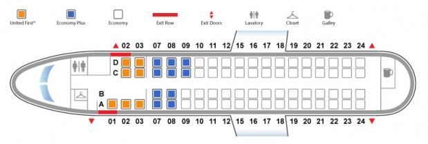 Bombardier Q400 / De Havilland Dash 8-400 United Airlines Seat Map First Class Configuration
