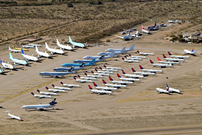 R&D Airlines Article Photo featuring Pinal Airpark in Marana Arizona with Stored Airplanes